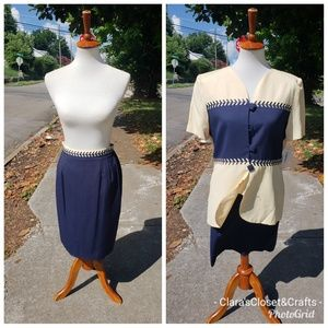 Vintage 90s Butter and Navy Skirt and Jacket Set